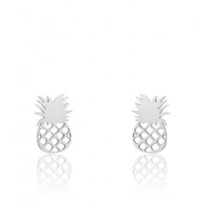 Boucles d'oreilles ananas, Or blanc 9 carats - Scarlett or Scarlett