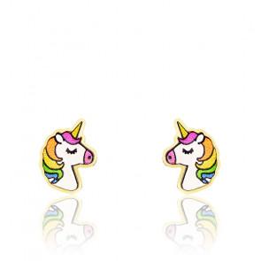 Boucles d'oreilles licorne or 9K & email