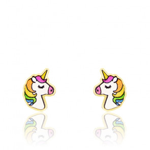 Boucles d'oreilles licorne, Or jaune 9K et émail - Bambins