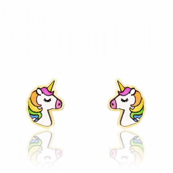 Boucles d'oreilles licorne, Or jaune 9K et émail - Rosatella