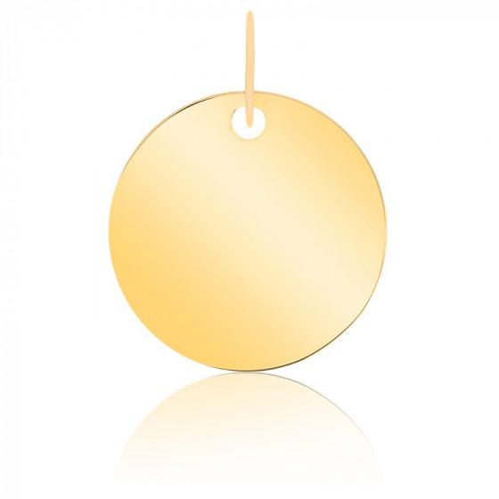 Pendentif rond à graver, Or jaune 9 ou 18 carats - Emanessence