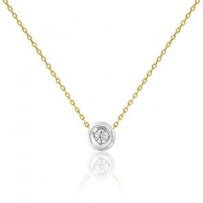 Collier femme diamant clos , 2 Or 9K et diamant - Rosatella