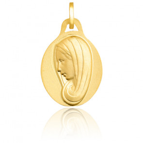 Médaille Vierge Marie au voile, Or jaune 18K - Emanessence