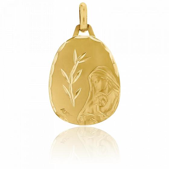 Médaille Vierge à l'enfant, bord facetté, Or jaune 18K - Augis