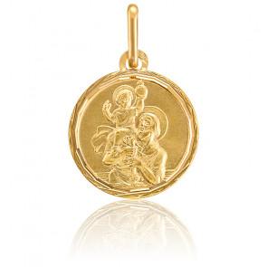 Médaille Saint Christophe au liseré, Or jaune 9K ou 18K - Lucas Lucor