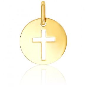 Médaille ronde croix ajourée, Or jaune 9K ou 18K - Lucas Lucor