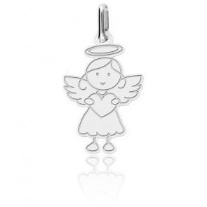 Pendentif ange petite fille, Or blanc 18K - Lucas Lucor