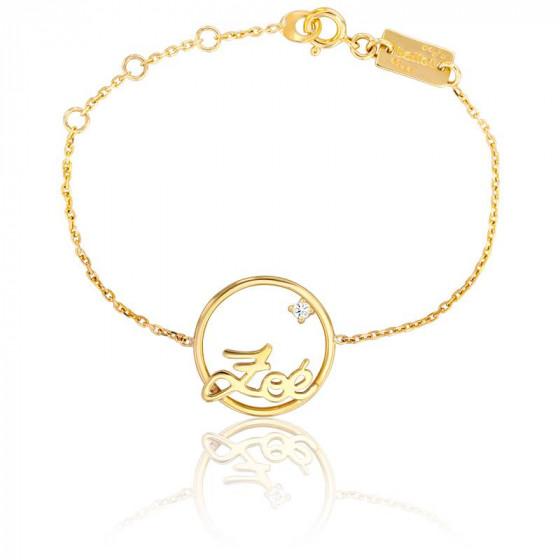 Bracelet prénom personnalisable cercle 18 mm, Or Jaune 9k