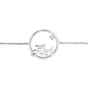 Bracelet prénom personnalisable cercle 18 mm, Or Blanc 9k