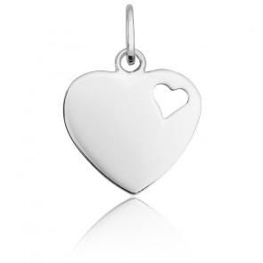 Pendentif cœur ajouré, Or blanc 18 carats - Emanessence