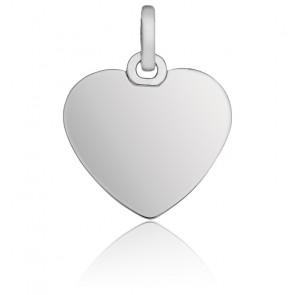 Pendentif cœur, Or blanc 9 ou 18 carats - Emanessence