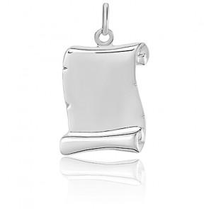 Pendentif parchemin, Or blanc 18 carats - Emanessence