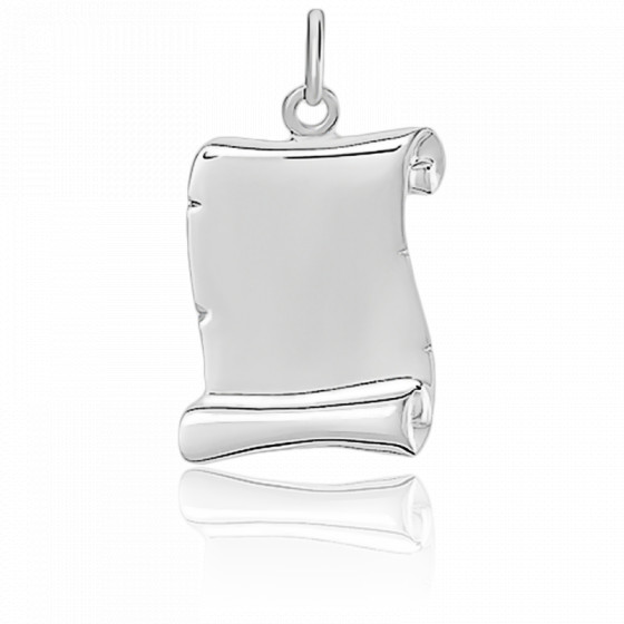 Pendentif parchemin, Or blanc 18 carats - Emanessence
