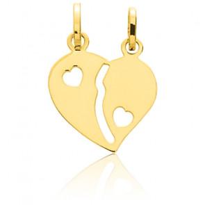Pendentif coeur à séparer, Or jaune 18K - Emanessence