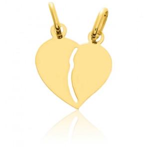 Pendentif cœur sécable, petit modèle, Or jaune 9 ou 18K - Emanessence