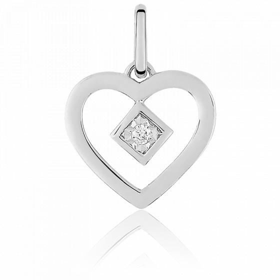 Pendentif petit coeur diamanté , Or blanc 18K - Emanessence