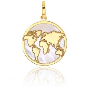 Médaille ronde carte du monde, Or jaune 18K et nacre - Rosatella