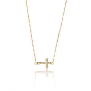 Collier croix horizontale , Or jaune 9K et zyrcons - Rosatella
