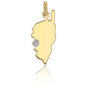 Pendentif Corse Ajaccio, Or jaune 18K et diamant- Rosatella
