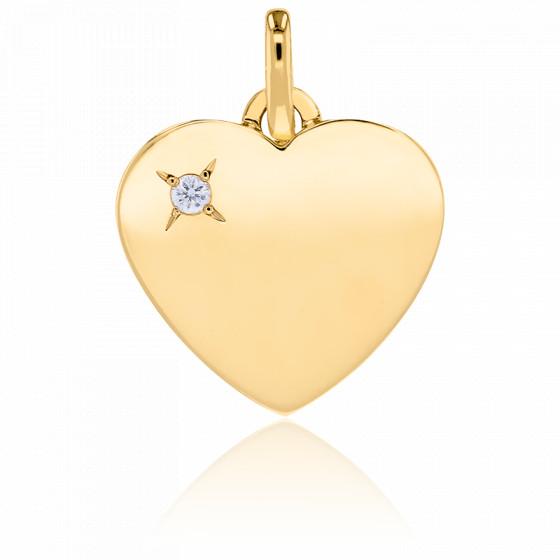 Pendentif coeur, Or jaune 18K et diamant - Emanessence