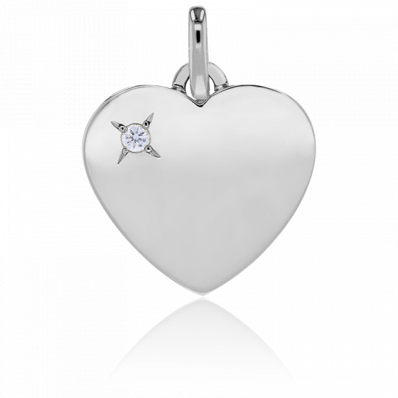 Pendentif coeur, Or blanc 18K et diamant - Emanessence