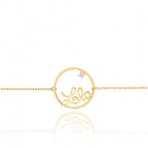 Bracelet prénom personnalisable cercle 15 mm, Or Jaune 9k