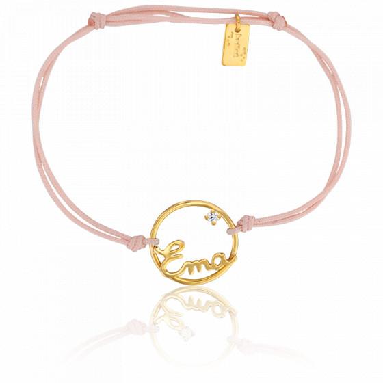 Bracelet personnalisé cercle 15 mm, Or jaune 9K et cordon