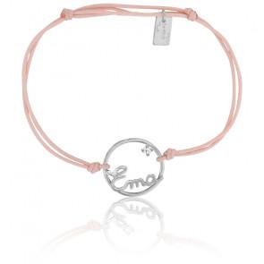 Bracelet personnalisé cercle 15 mm, Or blanc 9K et cordon