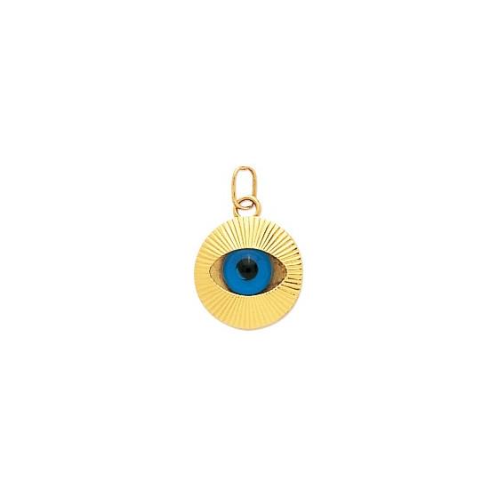 Pendentif oeil porte bonheur, Or jaune 9 ou 18 K - Emanessence