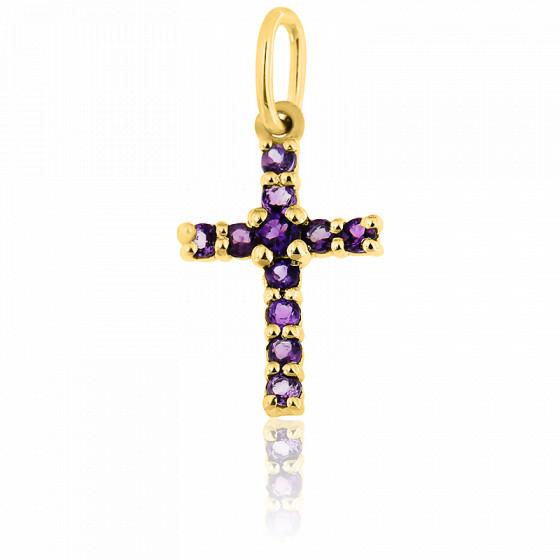 Pendentif croix, Or jaune 9K & Améthyste