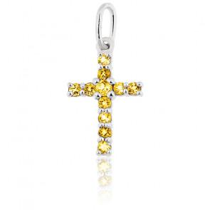 Pendentif croix, Or blanc 9K & Citrine