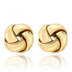 Boucles d'oreilles rondes croisées 10 mm, Or jaune 9K - Emanessence