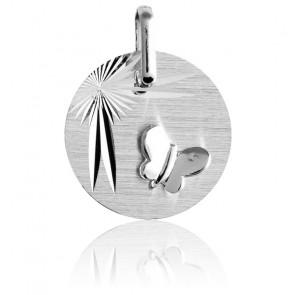 Médaille Papillon Ailes Déployées, Or Blanc 9K - Lucas Lucor