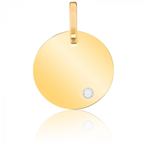 Plaque ronde à graver, Or jaune 9 ou 18K - Emanessence