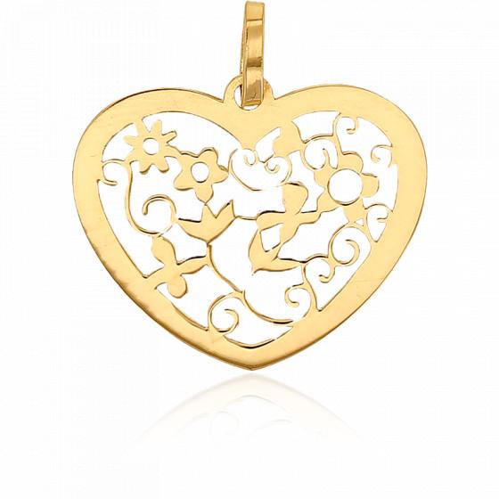 Pendentif coeur fleuri ajouré, Or jaune 18K - Rosatella