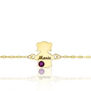 Bracelet Or Jaune 9K, Fille Pierre de Naissance Swarovski - Bambins