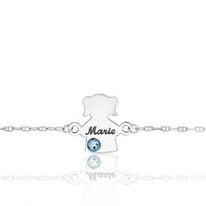 Bracelet Or Blanc 9K, Fille Pierre de Naissance Swarovski - Bambins