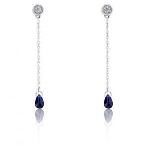 Boucles d'oreilles Pendantes, Or blanc Diamant & Saphir - Aurora
