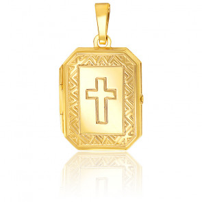 Pendentif photo croix chrétienne triangle, Or jaune 9K - Emanesence