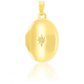 Pendentif porte photo étoile polaire, Zircon et Or jaune 9K - Emanessence