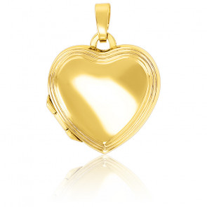 Pendentif porte photo cœur progressif, Or jaune 9K - Emanessence