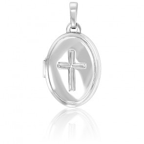 Pendentif photo croix chrétienne, Argent rhodié - Emanessence