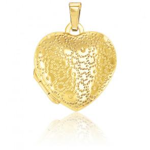 Pendentif porte photo cœur pointillés, Or jaune 9K - Emanessence