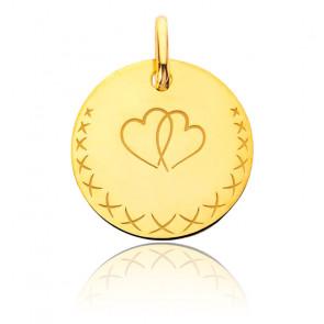 Médaille Cœurs Entrelacés, Or Jaune 18K - Augis