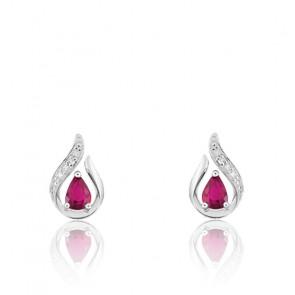 Boucles d'oreilles Or Blanc 18K, Rubis et Diamant - Joelli