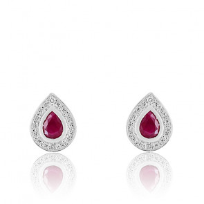 Boucle d'oreilles Gouttes, Or blanc 18K Diamant & Rubis - Joelli