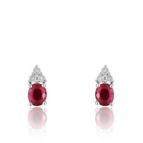 Boucles d'oreilles Grappes, Or blanc 18K Diamant & Rubis - Joelli