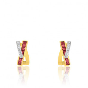 Créoles X Or jaune18K, Rubis & Diamants - Joelli