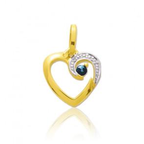 Pendentif coeur arabesque saphir, Or jaune 9 ou 18K - Emanessence