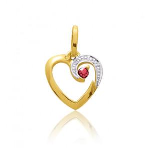 Pendentif coeur arabesque rubis, Or jaune 9 ou 18K - Emanessence